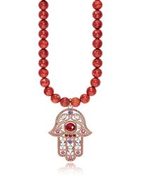 Thomas Sabo Rose Gold Plated Sterling Hand of Fatima and Red Coral Long Necklace w/Pink Zirconia