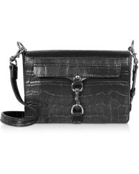 Rebecca Minkoff Croco Embossed Leather Mab Flap Crossbody - Negro