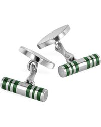 FORZIERI Cylinder Sterling Silver Double Sided Cufflinks - Metallic