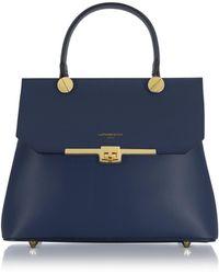 Le Parmentier - Atlanta Navy Blue Leather Top Handle Satchel Bag W/shoulder Strap - Lyst