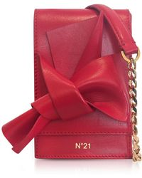 N°21 - Red Nappa Leather Micro Bow Bag - Lyst