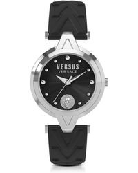 Versus - V Versus Silver Stainless Steel Women's Watch W/black Leather Strap - Lyst