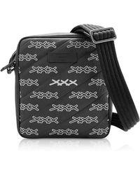 Ermenegildo Zegna Black Coated Canvas Signature Crossbody Bag