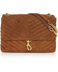 Rebecca Minkoff Edie Equestrian Suede Leather Flap Shoulder Bag - Braun