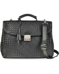 FORZIERI - Black Woven Leather Business Bag W/shoulder Strap - Lyst