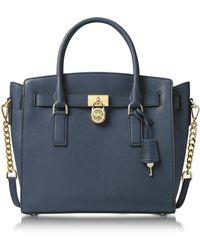Michael Kors | Hamilton Large Admiral Blue Pebbled Leather Satchel Bag | Lyst