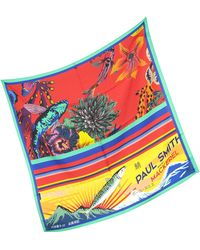 Paul Smith Red Hawaiian Floral and Ocean Print Men's Square Scarf - Rot