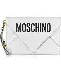 Moschino Black Flat Signature Envelope Clutch - Blanco