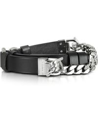 DSquared² Babe Wire Black Leather And Silver Tone Metal Women's Belt