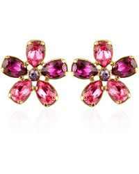 AZ Collection - Flower Gold Plated Clip-on Earrings - Lyst