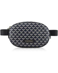 Emporio Armani Color Block Signature Belt Bag - Blue