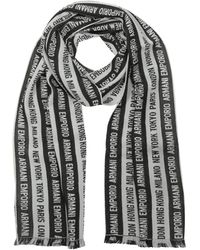 Emporio Armani Black Signature Stripe Wool Blend Men's Scarf