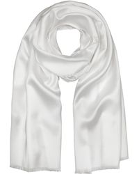 FORZIERI Pure White Silk Men's Long Scarf - Weiß