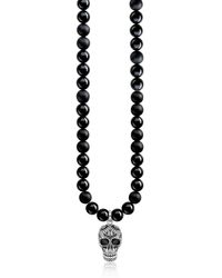 Thomas Sabo Blackened 925 Sterling Silver & Obsidian Beads Power Necklace Maori Skull Necklace W/zirconia Pave