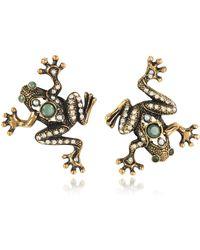 Alcozer & J Frog Earrings w/Crystals - Mettallic