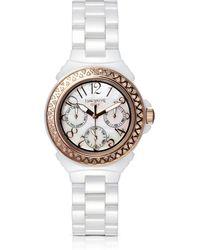 Lancaster Ceramic Diamonds White Multifunction Quartz Movement Watch