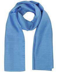 FORZIERI Herren Schal aus bedruckter Twillseide mit kleinem Zick-zack-Muster - Blau