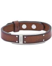 Fossil - Brown Leather Men's Bracelet - Lyst