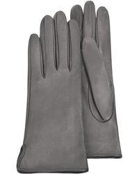 FORZIERI Damen-Handschuhe aus grauem Kalbsleder mit Seidenfutter