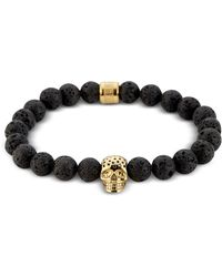Northskull Lavastone & Perforated Gold Skull Charm Bracelet - Black