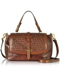 The Bridge Salinger Woven Leather Medium Satchel Bag - Brown