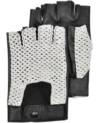 Forzieri | Black Leather And Cotton Men's Driving Gloves | Lyst