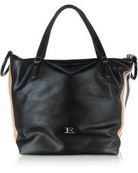 Ermanno Scervino Eleonora Black Leather Medium Tote W/vertical Stripes
