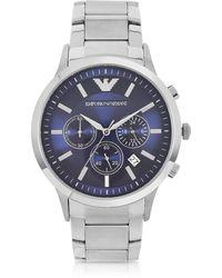 Emporio Armani Men's Blue Dial Stainless Steel Chrono Watch - Metallic