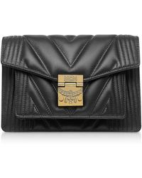MCM Black Quilted Leather Patricia Crossbody Bag - Negro