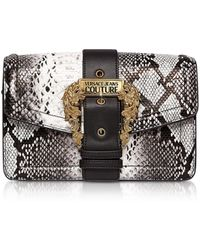 Versace Jeans Roccia Python Embossed Leather Crossbody Bag W/ Buckle - Gray