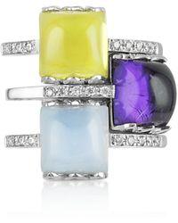 Mia & Beverly Ring aus 18k Weissgold mit Edelsteinen und Diamanten - Mehrfarbig