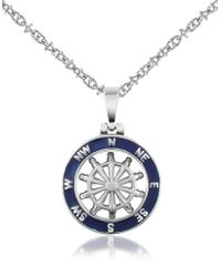 FORZIERI - Collier pendentif gouvernail en acier inox et émail bleu marine - Lyst
