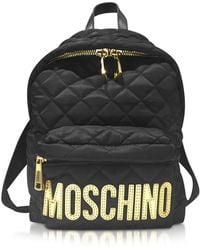 Moschino Black Quilted Nylon Small Backpack W/golden Logo