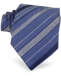 FORZIERI Blue Diagonal Stripe Woven Silk Tie - Azul