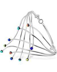 FORZIERI Fireworks Glass Stones Sterling Silver Cuff Bracelet - Metallic
