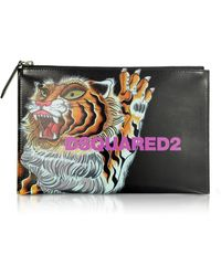 DSquared² Women's Tiger Printed Black Calf Leather Pouch
