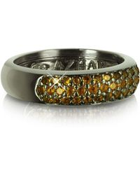 Azhar Yellow Cubic Zirconia And Sterling Silver Ring - Black