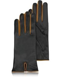 FORZIERI - Black & Cognac Cashmere Lined Leather Ladies' Gloves - Lyst