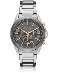 Armani Exchange - Drexler Grey Dial And Silver Tone Stainless Steel Men's Chronograph Watch - Lyst