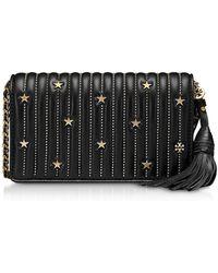 Tory Burch - Black Star Studs Flat Wallet Crossbody Bag - Lyst