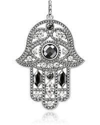 Thomas Sabo - Blackened Sterling Silver Hand Of Fatima Pendant W/hematite And Zirconia - Lyst