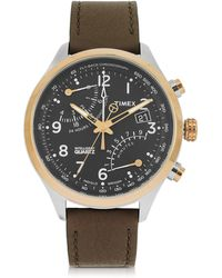 Timex - Fly Back Chrono Stainless Steel Case And Leather Strap Men's Watch - Lyst