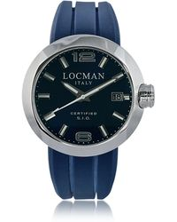 LOCMAN One Stainless Steel Chronograph Men's Watch w/Leather and Silicone Band Set - Blau
