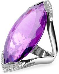 FORZIERI Modischer Ring in Weissgold mit Amethyst und Diamanten - Lila