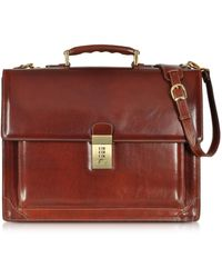 L.A.P.A. Cristoforo Colombo Collection Leather Briefcase - Red