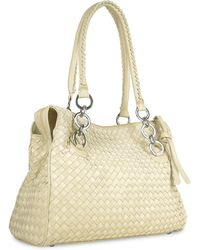 cee7827a789a3 Fontanelli - Ivory Woven Italian Suede   Leather Satchel Bag - Lyst