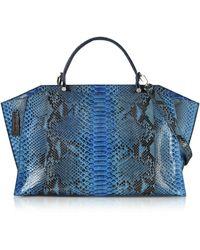 Ghibli - Deep Blue Python Leather Large Satchel Bag - Lyst