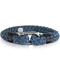 FORZIERI Navy Blue Woven Rope Men's Bracelet - Blau