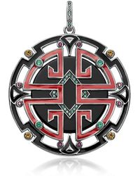 Thomas Sabo - Blackened Sterling Silver Enamel And Glass-ceramic Stones Asian Ornaments Pendant - Lyst