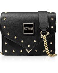 Versace Jeans Nappa Crossbody Bag W/studs - Black